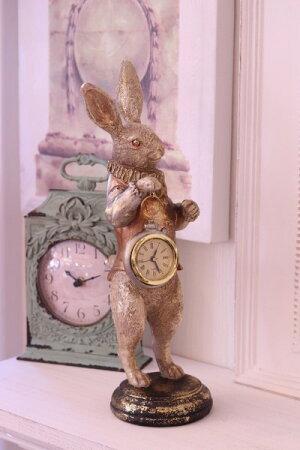 クリスマスオブジェ♪バロッククロック・ラビットウサギの置物置時計シャビー北欧フレンチロマンティック可愛いクリスマス飾りツリーオーナメント