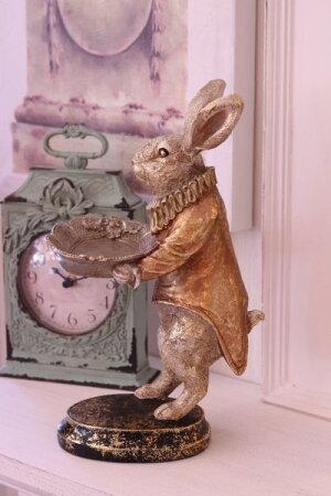クリスマスオブジェ♪バロックトレイ・ラビットウサギの置物置時計シャビー北欧フレンチロマンティック可愛いクリスマス飾りツリーオーナメント