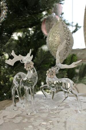 クリスマスオーナメント♪(アクリルディアーデコ2個セット・トナカイの置物)鹿オブジェクリスマスツリーシャビーシック北欧フレンチロマンティック可愛いクリスマス飾り