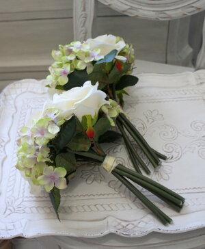 【エントリーでP14倍中】ペッシェローズ&ハイドブーケ・7本タイプ(ホワイト・グリーン系)【シルクフラワー・アーティフィシャルフラワー】紫色花束薔薇造花