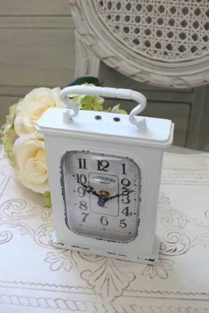 アンティーク・スウェルクロック(ホワイト)♪置時計白色シャビーシックフレンチカントリーアンティーク雑貨アンティーク風姫系antique
