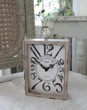 PARIS・レクトスチールクロック(ベージュ)♪置時計シャビーシックフレンチカントリーアンティーク雑貨アンティーク風姫系antique