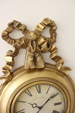 リボンモチーフの掛け時計(ホワイト・ゴールド)クォーツ掛け時計ウォールクロック輸入雑貨アンティーク風雑貨シャビーシックフレンチカントリー姫系