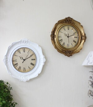 アンティーク風のヨーロピアン掛け時計(ホワイト・ゴールド)クォーツ掛け時計ウォールクロック輸入雑貨アンティーク風雑貨シャビーシックフレンチカントリー姫系