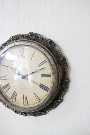 フレンチシックなアンティーク風掛け時計(シルバー・ゴールド)クォーツ時計輸入雑貨シャビーシックフレンチカントリー姫系