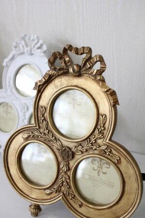 リボンモチーフの3ウィンドウフォトフレーム(ホワイト・ゴールド)♪♪写真立てファミリーフォトシャビーシックフレンチカントリーアンティーク雑貨姫系輸入雑貨antiqueshabbychic