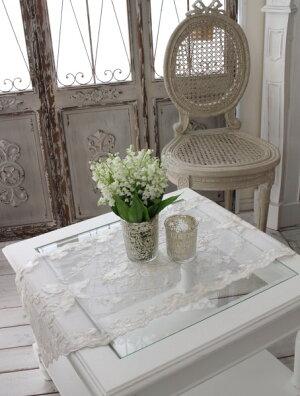 シャビーシックなテーブルランナー【ホワイトフラワー・40×100】テーブルセンターダマスクフレンチクラシックシャビーシック輸入雑貨アンティーク調
