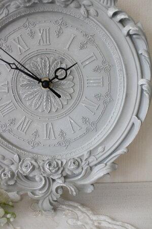 フレンチグレーのデコラティブ掛け時計シャビーシックフレンチカントリーフレンチシック輸入雑貨アンティーク風雑貨姫系