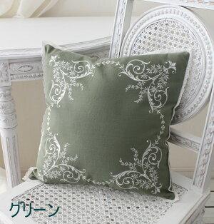 刺繍が素敵なクッションカバー(コットン・4色)40cm角フレンチシック輸入雑貨アンティーク風シャビーシックフレンチカントリーantique
