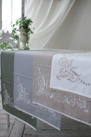 刺繍が素敵なテーブルランナー(コットン・4色)40×100cmテーブルセンターフレンチシック輸入雑貨アンティーク風シャビーシックフレンチカントリーantique