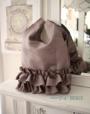 フリルサブバッグ・シュシュロング♪♪手提げサブバッグエコバッグポリエステル製5色有り(ブラック、グレイ、ベージュ、ネイビー、ピンク)