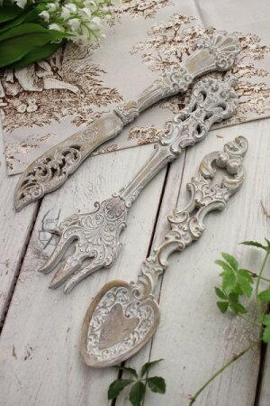 カトラリーモチーフのシャビーな壁飾り(3種セット)ウォールデコアンティーク雑貨アンティーク風姫系輸入雑貨シャビーシックantique