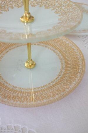 トリアノン・ガラス食器2段プレートスタンドガラス製アフタヌーンティスタンドアンティーク風アンティーク食器雑貨antiqueロココ調