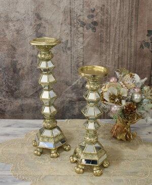 ミラーキャンドルホルダーL(ゴールド)キャンドルスタンドシャビーシックフレンチカントリーアンティーク雑貨輸入雑貨antiqueshabbychic