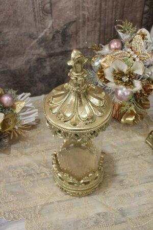 ガラスキャニスター(ゴールド)グラスベース蓋付シャビーシックフレンチカントリーアンティーク雑貨輸入雑貨antiqueshabbychic