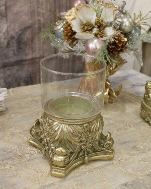 ガラスベース(ゴールド)グラスベースキャンドルホルダーシャビーシックフレンチカントリーアンティーク雑貨輸入雑貨antiqueshabbychic