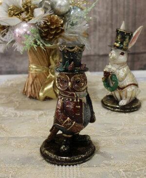 X'mas♪♪バロックオブジェ(ラビット・フクロウ)置物オブジェクリスマスディスプレイシャビーシックフレンチカントリーアンティーク雑貨輸入雑貨antiqueshabbychic