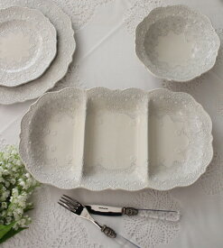 La Ceramica V.B.C ラ・セラミカ イタリア ディバイドプレート・3仕切り 長方形 皿 イタリア製 輸入食器 シャビーシック アンティーク風 洋食器 039