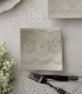 La Ceramica V.B.C ラ・セラミカ イタリア スクエアプレート 020 ケーキ皿 小皿 四角 イタリア製 輸入食器 シャビーシック アンティーク風 洋食器