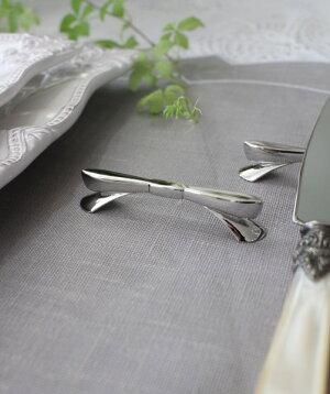 リボンモチーフ・ナイフレストカトラリーレストシルバー箸置き輸入カトラリーアンティーク食器雑貨フレンチカントリーアンティーク風antique