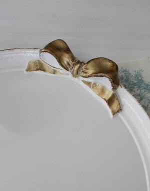 NEWイタリア製リボンSOLDIラウンドトレイお盆丸型ホワイト×ゴールドリボントレイーディスプレイ木製アンティーク風シャビーシック輸入品