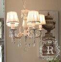 ★待望の再入荷★ シャビーシックな LED シャンデリア 5灯 アンティークホワイト 天井照明 フレンチ アンティーク風 姫系 白いシャンデリア LED電球
