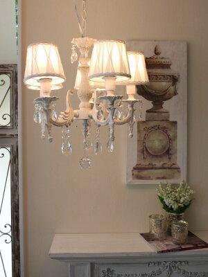 シャビーシックなLEDシャンデリアシャンデリア・5灯アンティークホワイト天井照明フレンチアンティーク風姫系白いシャンデリア