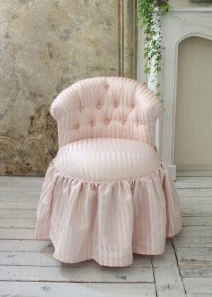 NEW♪♪ロマンティックなファブリックチェア【プリマ・ストライプピンク】スツール椅子布張りシャビーシックアンティーク調フレンチカントリー可愛い姫系オットマン【送料無料】