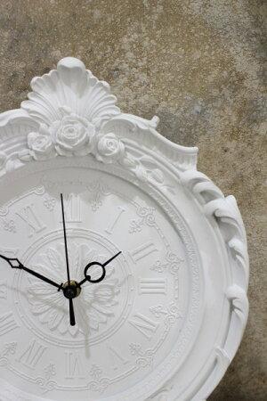 フレンチホワイトのデコラティブ掛け時計フレンチシッククォーツ掛け時計輸入雑貨アンティーク風雑貨シャビーシックフレンチカントリー姫系