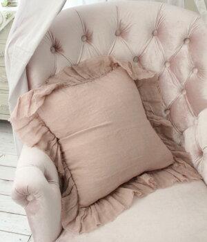 シャビーシックなリネンのクッションカバー♪♪【リネンフリルクッションカバー・ピンク45cm角(フラター)】リネン100%布製フレンチカントリーTAMTAM