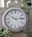 シャビーホワイトのフレンチ掛け時計 フランスロゴ アンティーク 雑貨 掛け時計 ウォールクロック アンティーク風 シャビーシック anti…