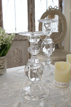 ガラス製のキャンドルスタンド(ボールタイプM)燭台キャンドルホルダーシャビーシック姫系アンティーク雑貨アンティーク風antique