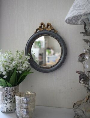 シャビーシックなリボンミラーS丸形グレイ×ゴールド壁掛け卓上両用アンティーク風雑貨フレンチカントリー鏡