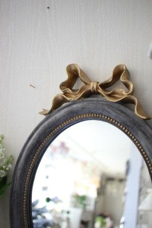 シャビーシックなリボンミラーMオーバル形グレイ×ゴールド壁掛け卓上両用アンティーク風雑貨フレンチカントリー鏡