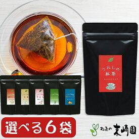 紅茶 ティーバッグ 【選べる6袋セット】 かわいい 人気の 和紅茶 うれしの紅茶 tea bag ストレート/ゆずブレンド/生姜ブレンド/レモングラスブレンド/さくらブレンド/玄米ブレンド 【送料無料】 単品購入よりもちょっぴりお値打ちなセットです。