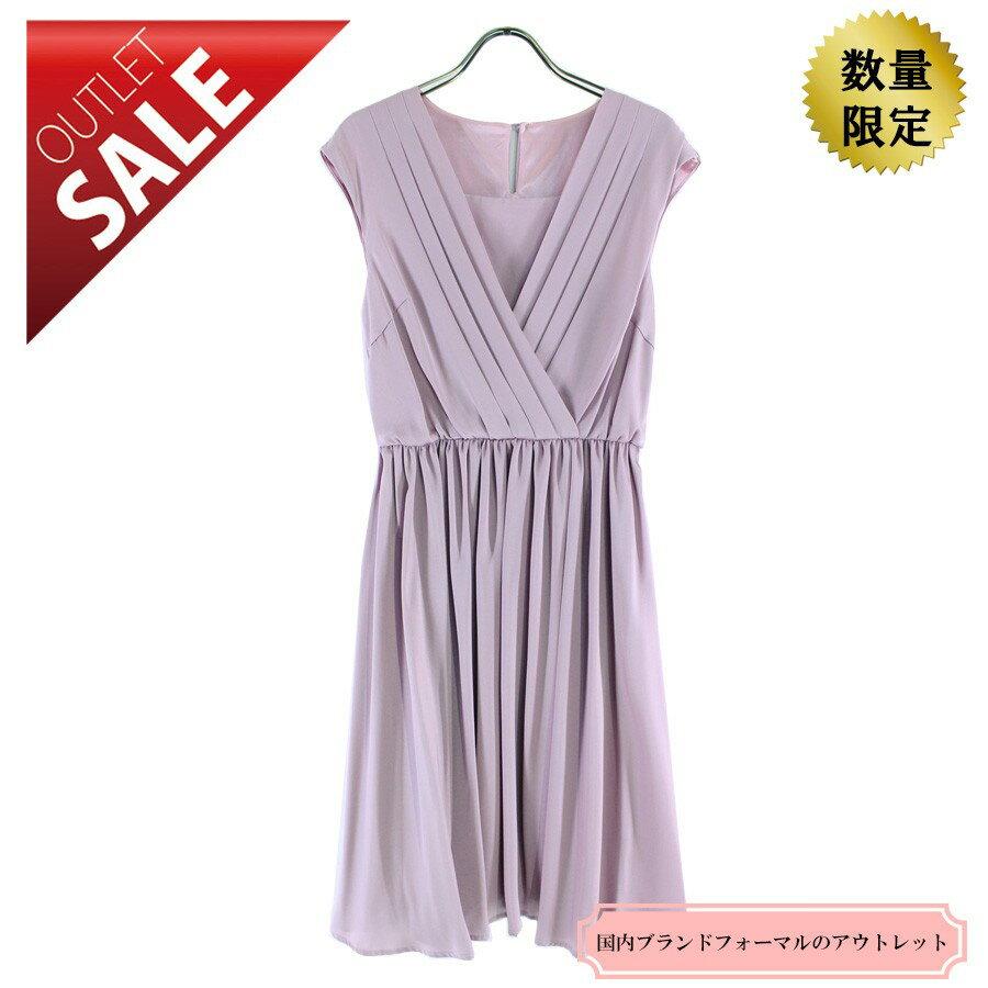 【64%OFF!】ひざ丈ドレス 結婚式 二次会 |オーバースカート付カシュクールドレスLサイズ(ピンク)