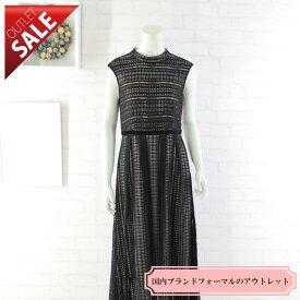 【50%OFF!】結婚式 二次会 ドレス ロング |幾何学ニットレースドレス9号(ブラック)