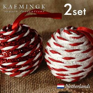 KAEMINGK バブルボール(小)デコレーション オーナメント バブルボール 宝石 グリッター キラキラ ペーパークラフト サテンリボン 直径6cm レッド 赤 ホワイト 白 アソート ミックス オーナメン