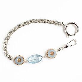 懐中時計用バッグチャーム チェコビーズ・オーバルアクアブルー×フラワーブルー シルバー 20cm SUNNYSIDEオリジナル レディース 女性用 日本製 懐中時計本体は別売りです