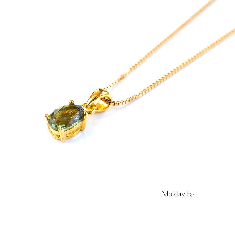 モルダバイトのペンダントネックレス K14GFゴールドフィルド グリーン 天然石 オーバルカット 40cm ヒーリング 幸福 癒やし 繁栄 Eleanor