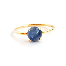 ラウンドカイヤナイトのヴェルメイユリング Silver925+K18コーティング ゴールド 指輪 天然石 日本製【明晰な思考・判断力・独立心】 パワーストーン レディース 女性用