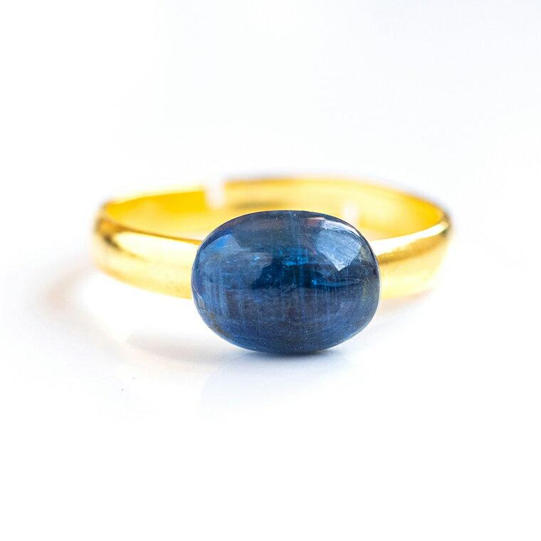 藍晶石カイヤナイトの真鍮リング 9×7mmオーバルカット 天然石 指輪 日本製 パワーストーン レディース 女性用 【依存心を払う 思考力・探究心】
