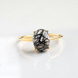 太針トルマリンクオーツのヴェルメイユリング 8×6mm オーバル Silver925+K18コーティング ゴールド 指輪 天然石 日本製 【エネルギーを浄化する石】 パワーストーン レディース 女性用