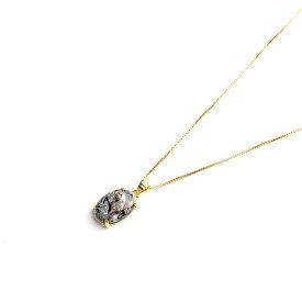 ぷっくりアストロフィライトのネックレス ヴェルメイユ石枠と14KGFベネチアンチェーン 50cm オーバル14×10mm 天然石 日本製 パワーストーン レディース 女性用 【持ち主に知恵や想像力を与える石】