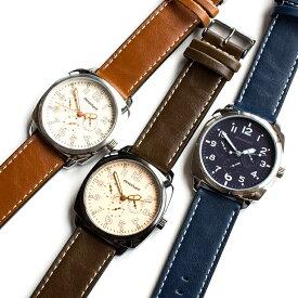 231c2f22bc ビッグフェイスウォッチ 腕時計 メンズ 日本製ムーブメント メイドインジャパンムーブメント キャメルブラウン ミッドナイトブルー