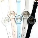 シリコンラバーバンドのレディース腕時計 日本製ムーブメント カジュアル モーガン