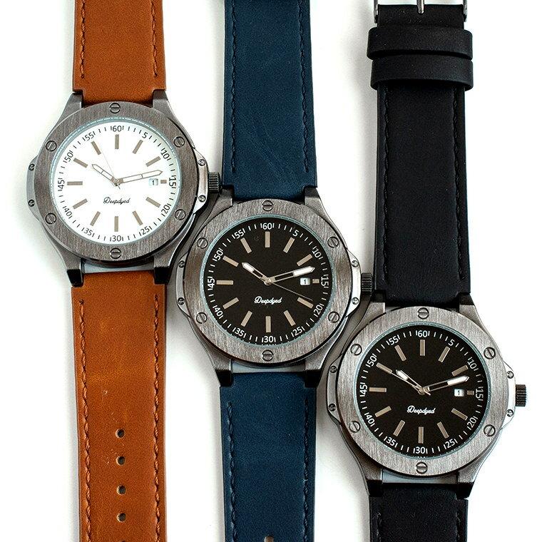 無機質ベゼル ビッグフェイスのメンズ腕時計 カレンダー機能付き ブラウン ブラック ネイビー 合皮ベルト クオーツ 日本製ムーブメント カジュアル バッジョ