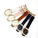 星と月モチーフのレディース腕時計 5カラー 三針 ホワイト ブラウン ピンク ブラック ネイビー クオーツ 日本製ムーブメント ゴールドフレーム スター&ムーン カジュアル 女性用ウォッチ エマー