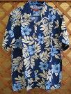 【300着販売実績あり】花柄ネイビー色のアロハシャツかりゆしウェア