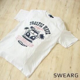 [2枚目半額対象] サーフ柄 プリントTシャツ オシャレ Tシャツ メンズ 綿100% 白 プリント 海 サーフィン かっこいい 半袖 ホワイト ピンク ミント 夏 ルームウェア シンプル カジュアル おしゃれ